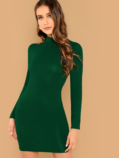 Green Solid Mock Neck Bodycon Short Dress