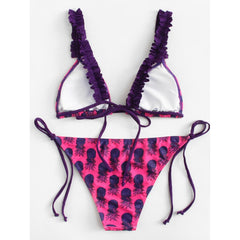 Pineapple Print Ruffle Bikini Set - Fashiontage