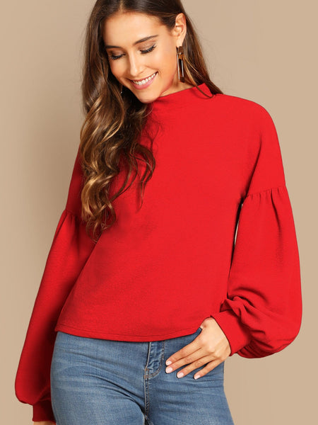 Red Button Back Balloon Sleeve Top