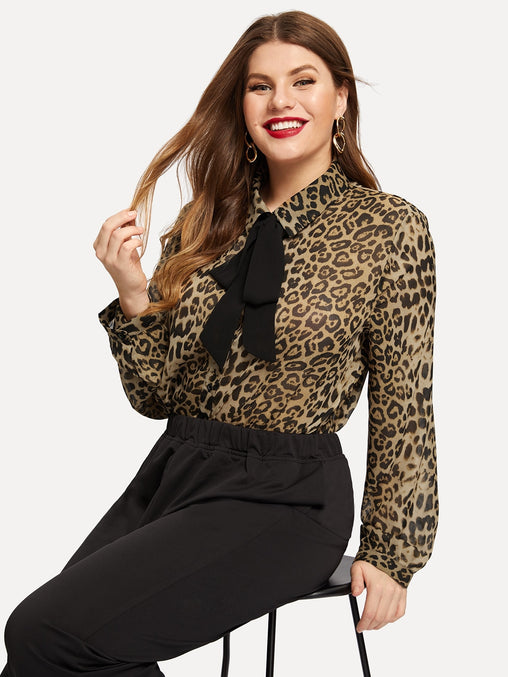 Plus Size Tie Neck Leopard Print Top