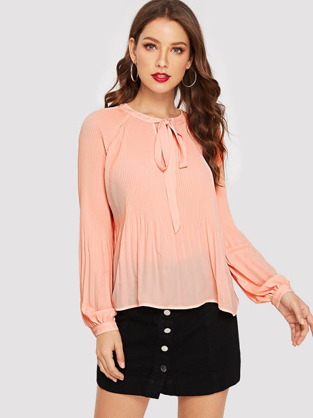 Pink Raglan Sleeve Tie Neck Pleated Top