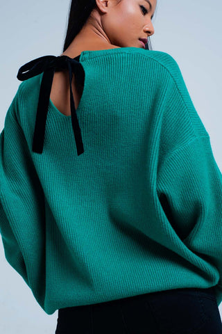 Green High Neck Sleeves Sweater