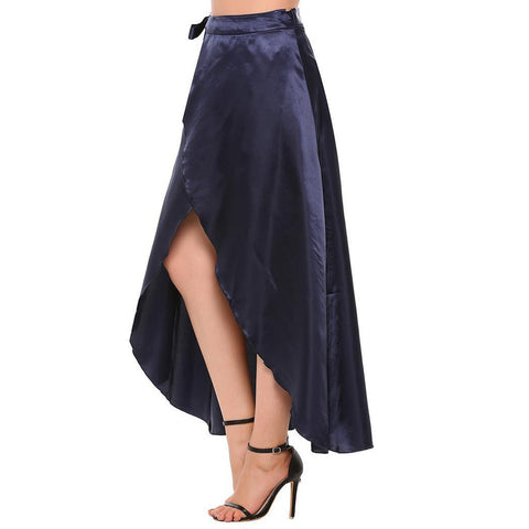 Asymmetric & Draped Skirts - Women's Trendy Blue Split Full Length Asymmetric Skirt