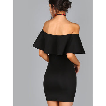 Black Off Shoulder Embroidered Ruffle Bodycon Dress