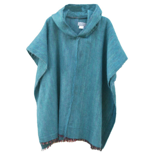 Alpaca Hand Woven Turquoise Hooded Poncho