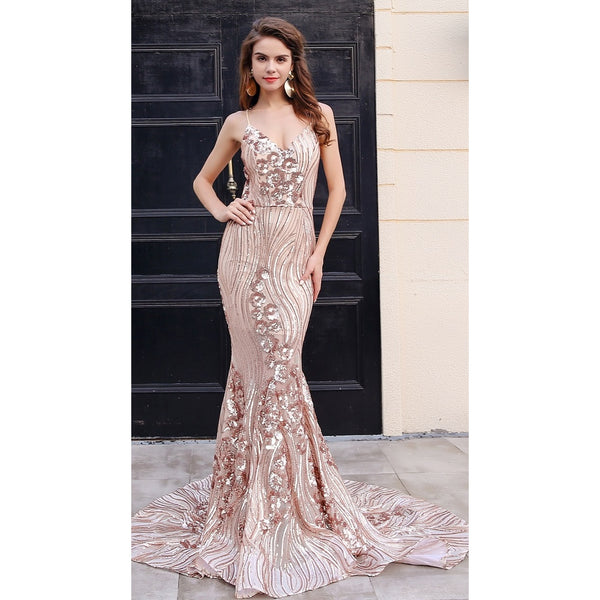 Gold Sequin Evening Gown