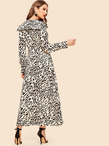 Frilled Sailor Collar Split Leopard Long Dress