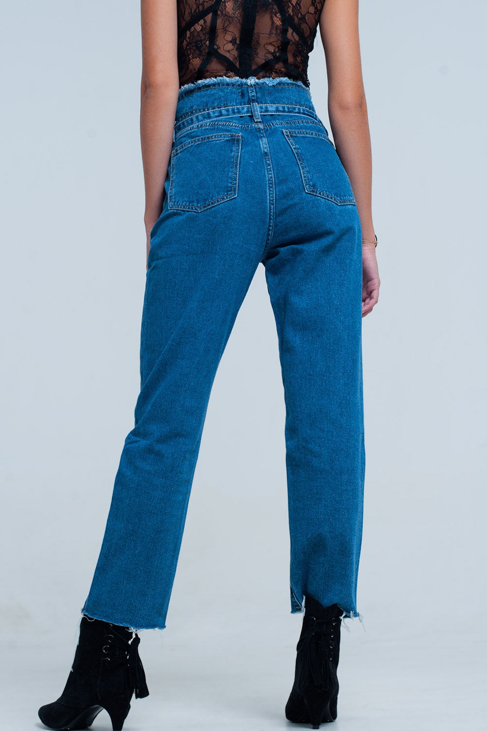 10ef488bce548 Jeans - Women s Plus Size Blue Frayed Pocket Jeans at Fashiontage ...