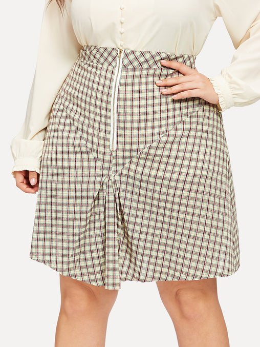 Plus Size Zipper Fold Over Plaid Midi Skirt