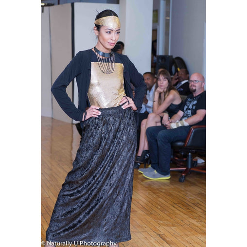 Black Full Length Polyester Skirt