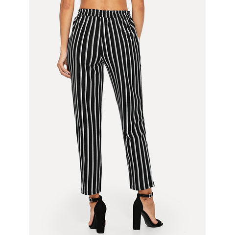 Tapered Pants - Women's Trendy Black And White Verticalstriped Tapered Leg Pants