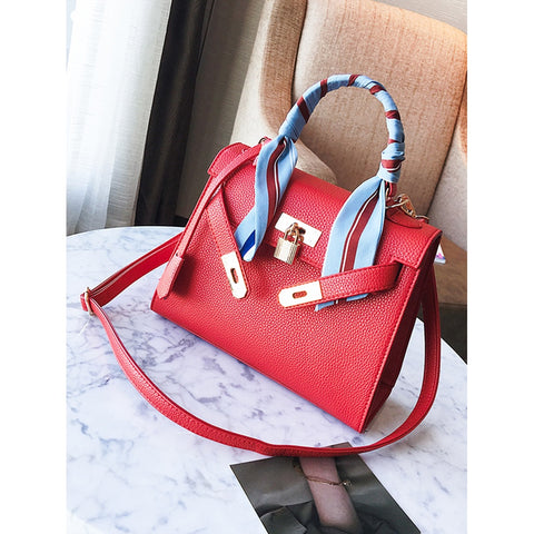 Red Metal Lock Design Pu Shoulder Bag With Scarf - Fashiontage