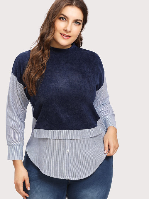 Plus Size Corduroy Curved Hem Blouse