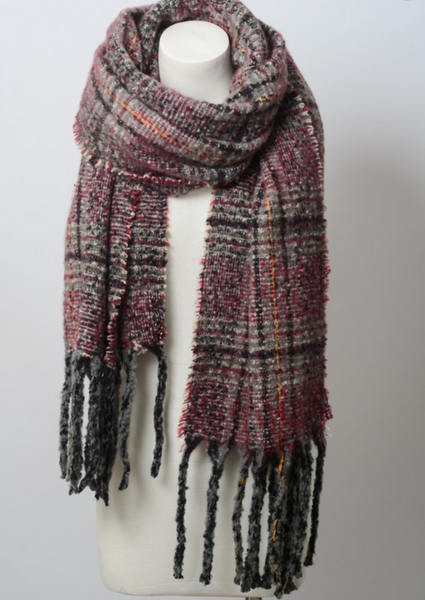 Soft Berry Mix Plaid Tassel Blanket Scarf
