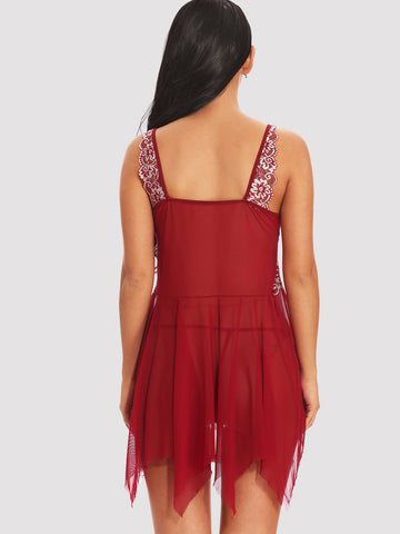 Nightwear - Women's Trendy Asymmetrical Hook Front Embroidery Dress With Thong