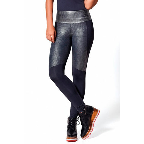 Cropped Pants - Women's Trendy Black Paneled Legging
