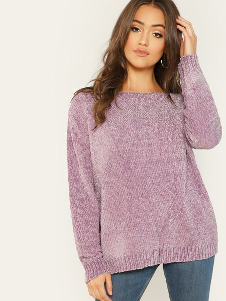 Purple Round Neck Soft Chenille Knit Pullover Sweater
