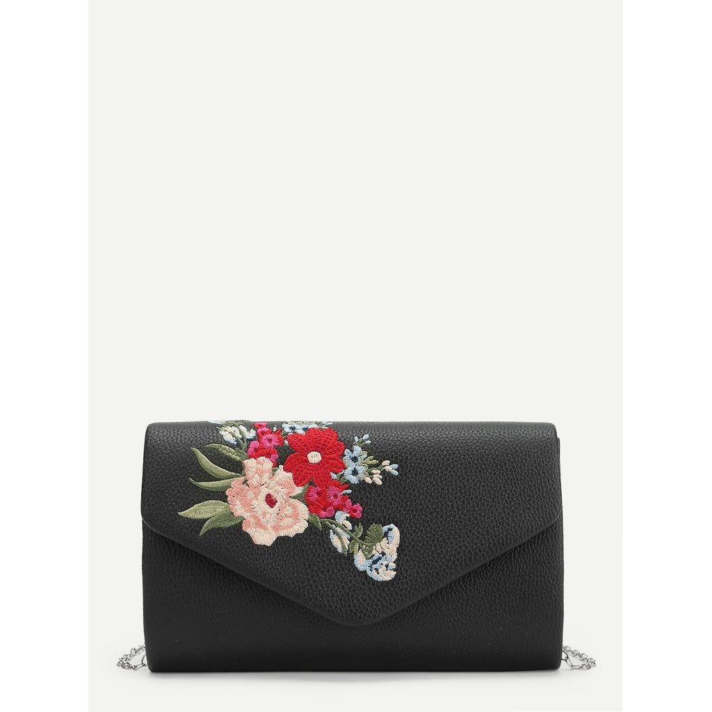 Black Floral Embroidery Clutch Bag