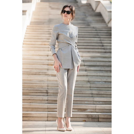 Gray Cropped Pants - Fashiontage