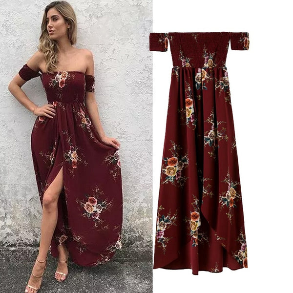 Wine Red Off Shoulder Long Beach Dress