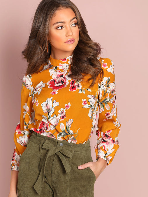 Ginger Floral Print Mock-Neck Top