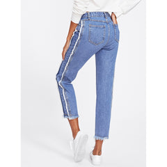 Dual Pocket Back Raw Edge Jeans - Fashiontage