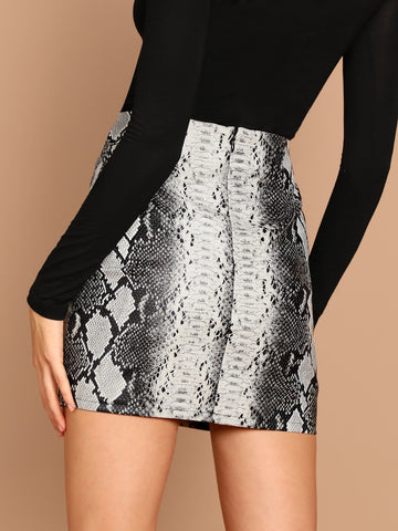 Skirts - Women's Trendy Grey Snake Print Faux Leather Back Zip Mini Skirt