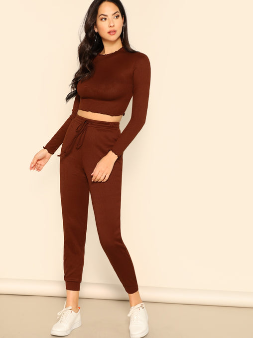 Brown Fitted Crop Top & Pant Set