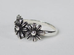 Three Flower  oxidised silver Ring