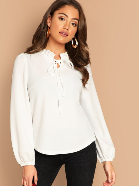 White Stand Collar Long Sleeve Top
