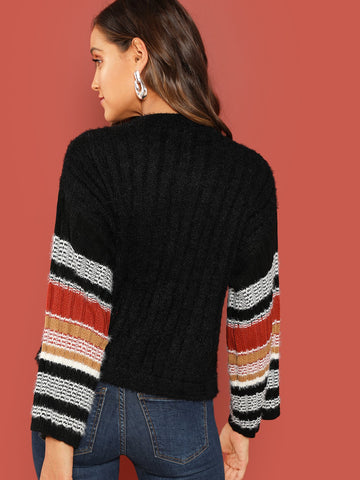 Black Fuzzy Knit Colored Striped Sleeve Pullover Sweater
