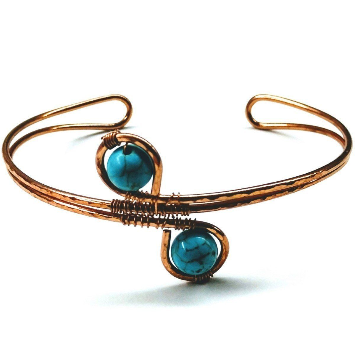 Adjustable Copper Turquoise Wire Wrap Cuff