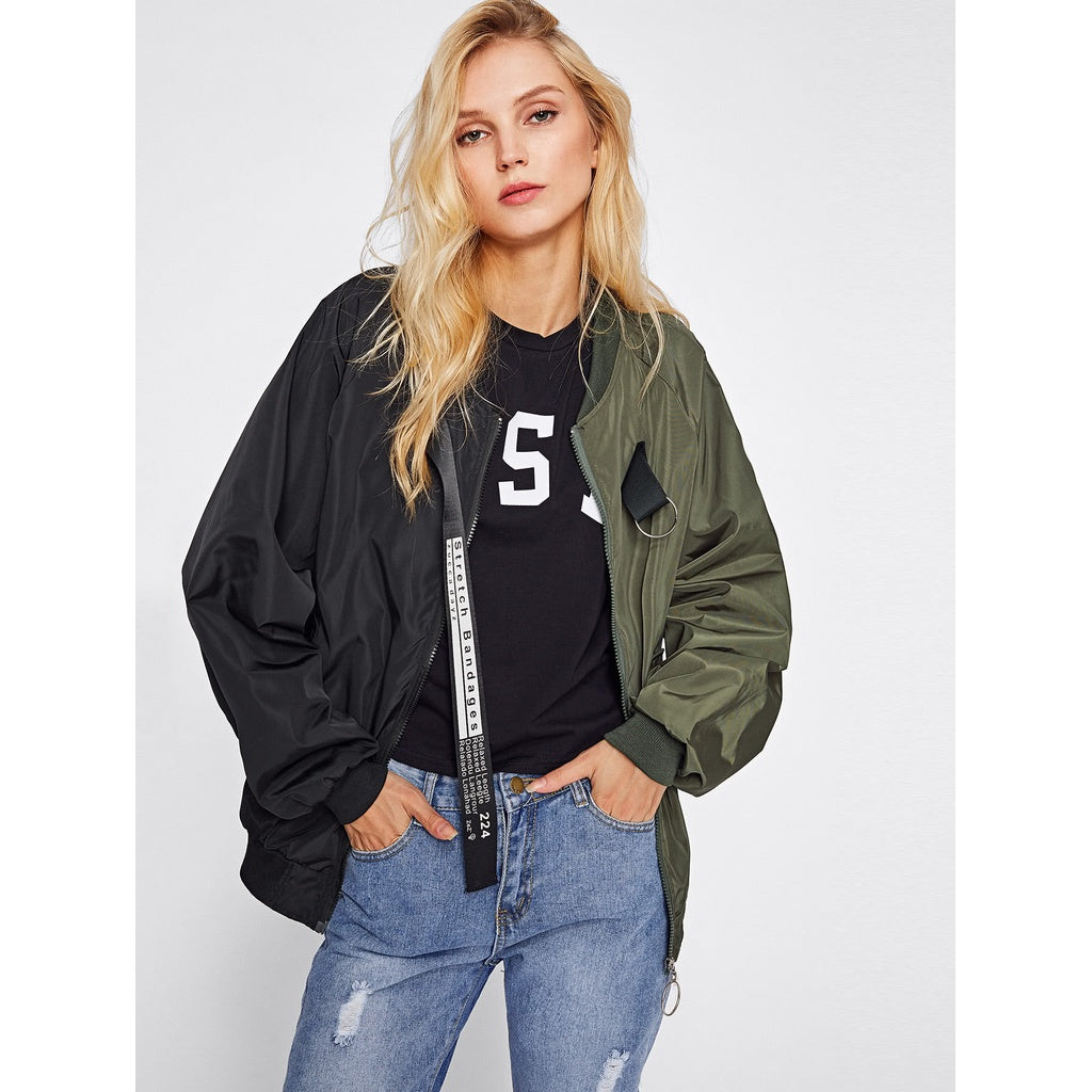 Two Tone Patch Back Letter Ribbon Detail Bomber Jacket - Fashiontage
