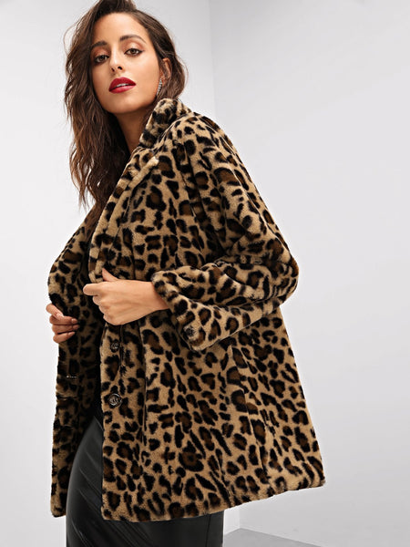 Multicolor Leopard Print Faux Fur Coat