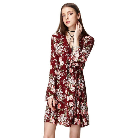 Maroon V-Neck Long Sleeve Party Dress