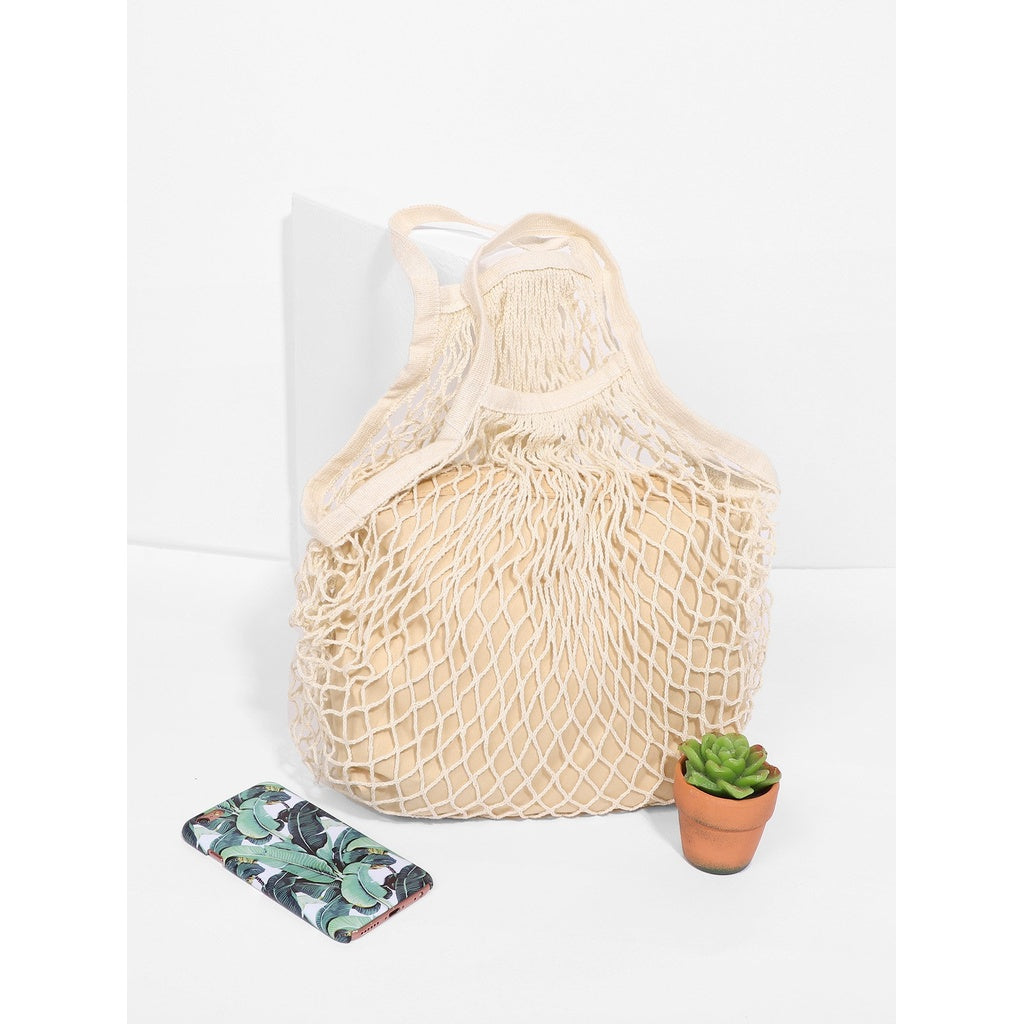 Beige Net Tote Bag With Inner Pouch