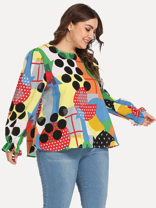 Plus Size Round Neck Tunic Top