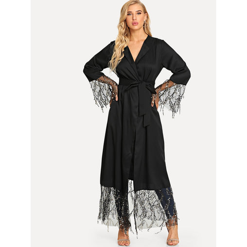 Black Sequin Mesh Trim Belted Abaya