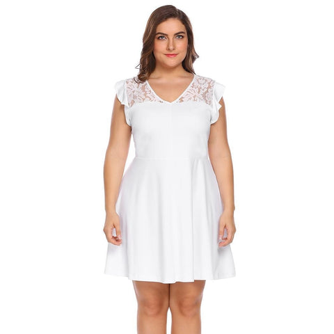 Plus Size Dresses - Women's Trendy Plus Size Fit And Flare Casual Dress