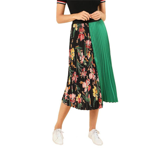 Pleated Skirts - Women's Trendy Green Pleated Kneelength Skirt