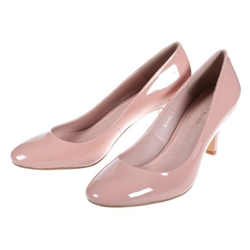 Pink Leather Round Toe Pumps