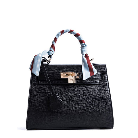 Black Metal Lock Design Pu Shoulder Bag With Scarf - Fashiontage