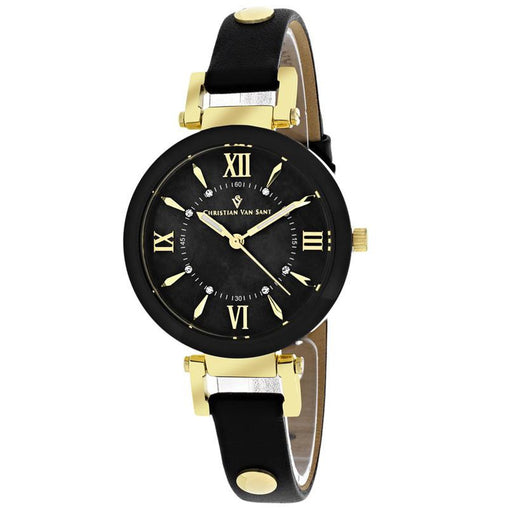 Black Quartz Leather Strap Watch