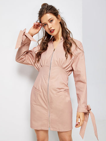 Day Dresses - Women's Trendy Pink Casual Sheath Short Zipper Dress