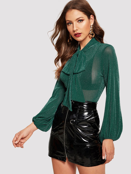 Green Tie Neck Lantern Sleeve Glitter Top