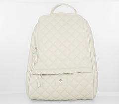 Women Peach Quilted Backpack Bag