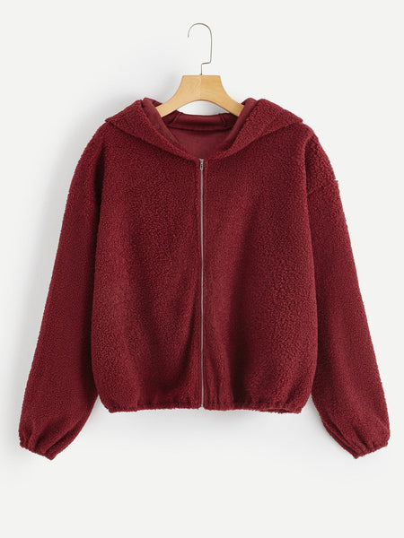 Red Zip Up Teddy Hoodie