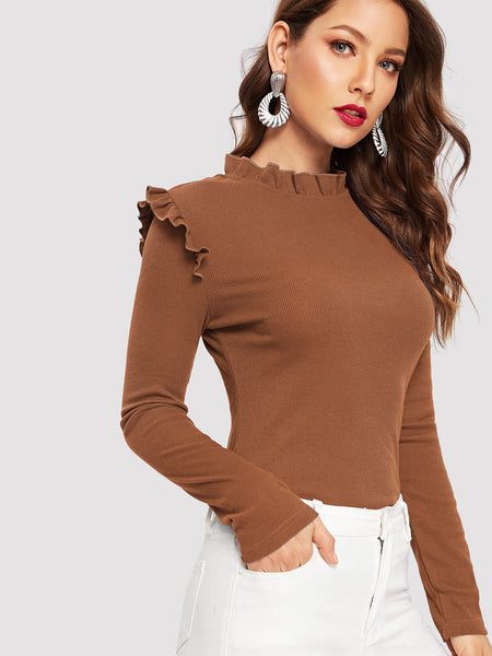 Brown Frill Trim Ribbed Knit T-Shirt