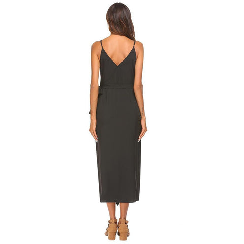 Day Dresses - Women's Trendy Black V-Neck Spaghetti Strap Party Dress