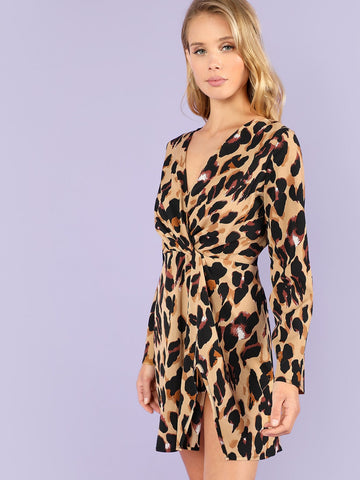 Cocktail & Party Dresses - Women's Trendy Deep V-Neck Twist Leopard Print Dress